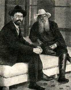 Two giants, Tolstoy and Chekhov, in a photograph from 1901